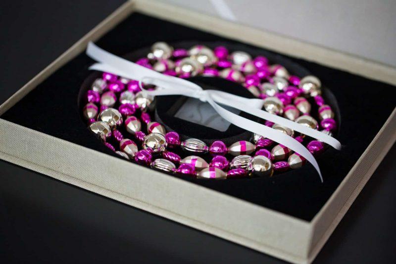 Linen gift box with velvet and satin ribbon